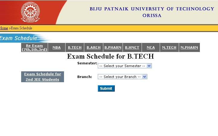 BPTU Exam Schedule 2011